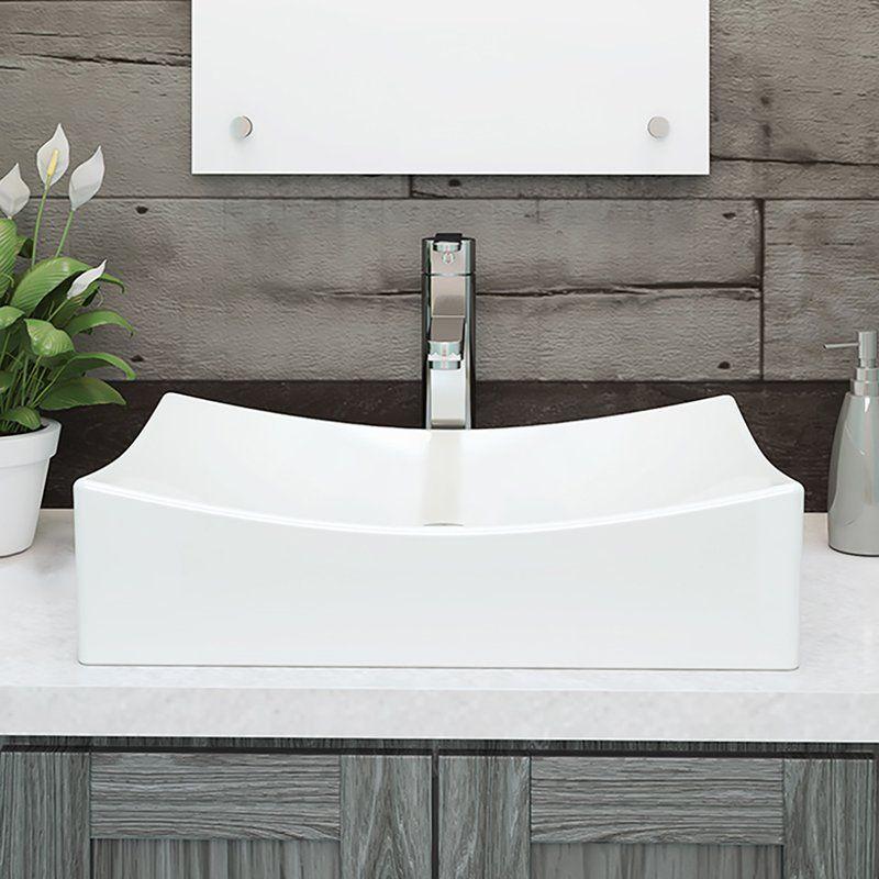 Kalina Classically Redefined Ceramic Rectangular Vessel Bathroom