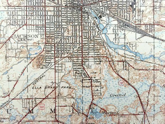 Spring Arbor Michigan Map.Antique Jackson Michigan 1939 Us Geological Survey Topographic Map