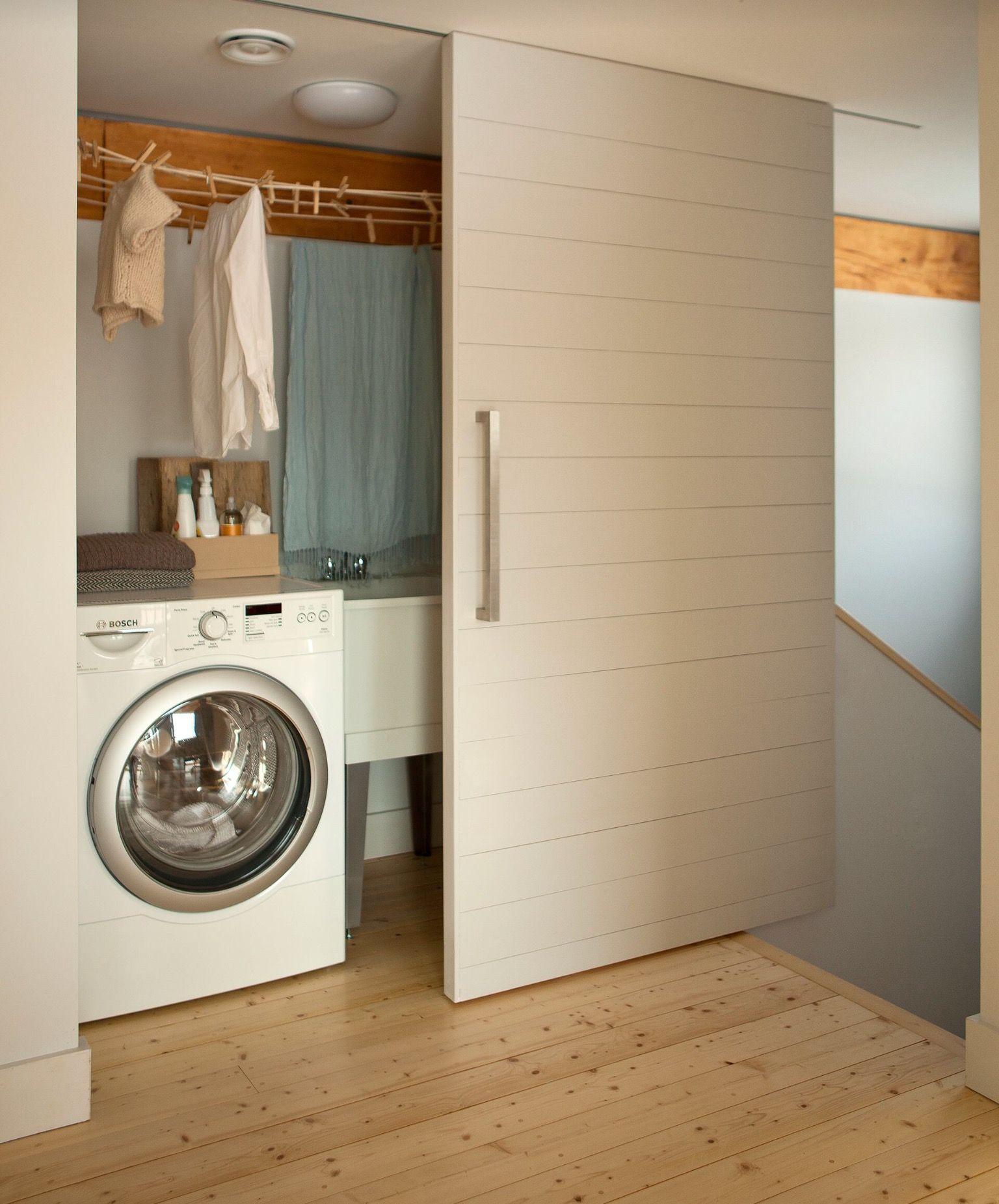 House Hidden Laundry Roomslaundry Closetmodern