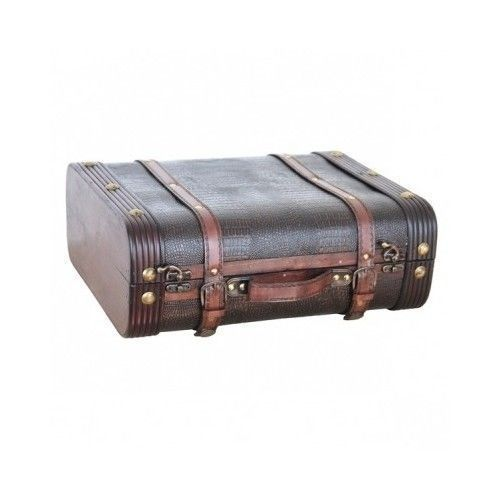 Vintage Suitcase Luggage Trunk Train Case Leather Retro Antique Suitcases Decor #AntiqueSuitcase #vintage #retro #suitcase