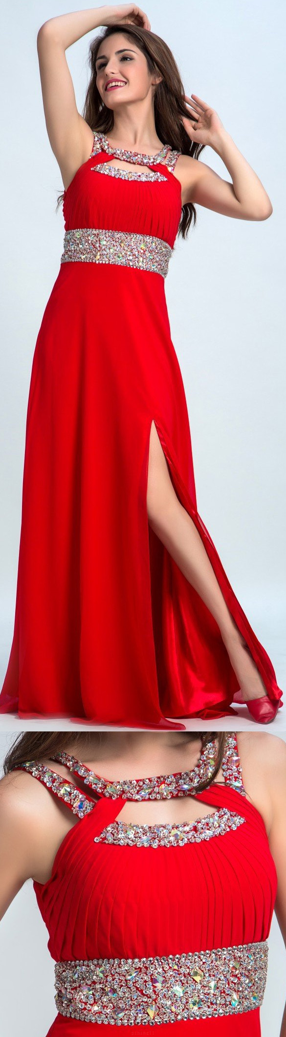 Outlet dazzling red long prom evening dress with openback