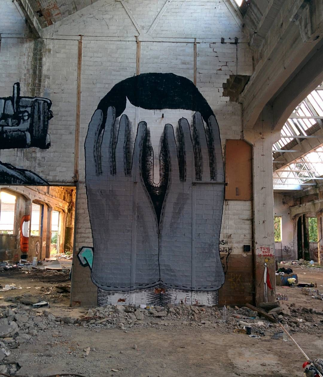 """""""R60, (detail) combo with @dissensocognitivo, in Reggiane, a giant abandoned factory, Reggio Emilia, 2015.  #r60 #tractor #monster #man #face #bearded…""""   andreacasciu, artist"""