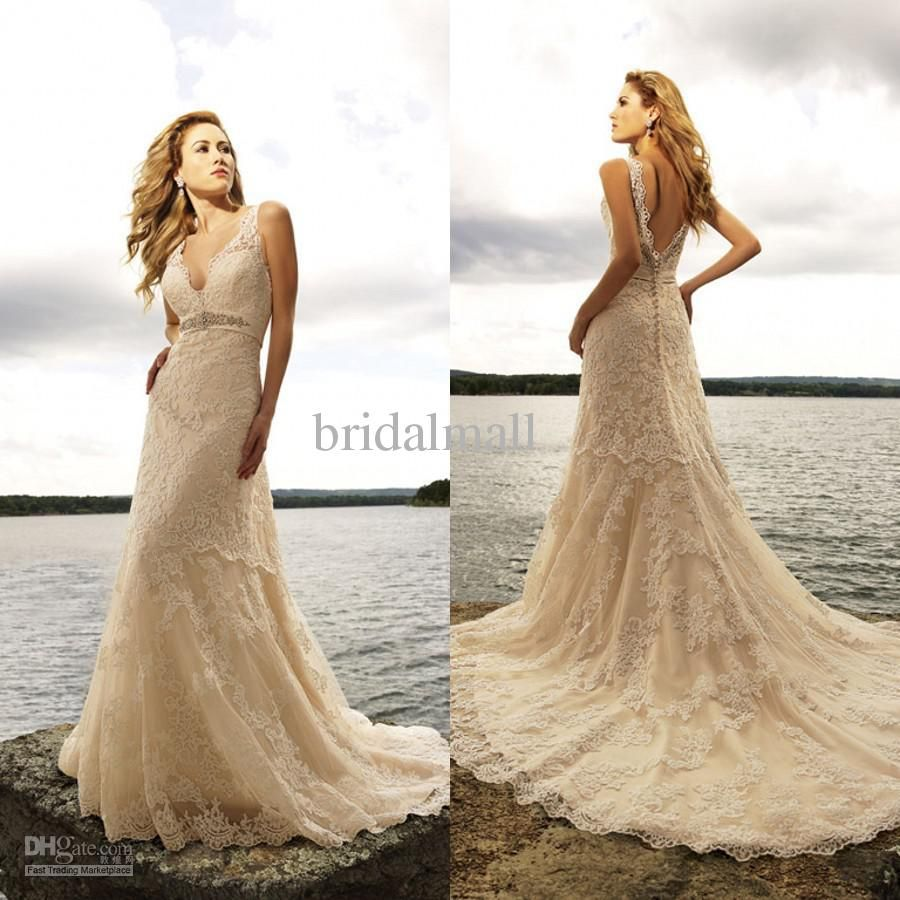 Vintage lace champagne wedding dress  Vintage  Champagne Wedding Dreses Sheer V Neck Lace