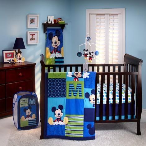 Nursery Sets For Boys Baby Disney Crib Bedding Mickey Mouse Comforter Sheet 4 Pc