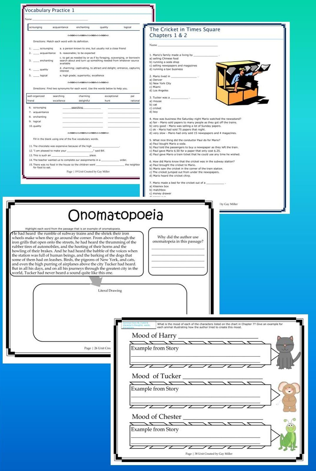 worksheet The Cricket In Times Square Worksheets free teaching resources for the cricket in times square great square