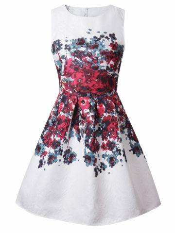 f87e945e7a970 إشتري فستان نسائي ضيق من الخصر وواسع من الأسفل برقبة دائرية ومنقوش بالأزهار    فساتين نسائية