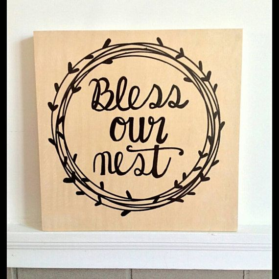 Bless Our Nest// hand painted wood sign https://www.etsy.com/listing ...