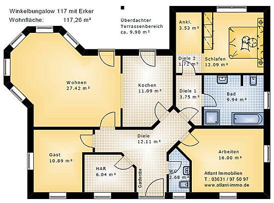 Winkelbungalow 117 mit Erker Einfamilienhaus Neubau Massivbau Sein ...