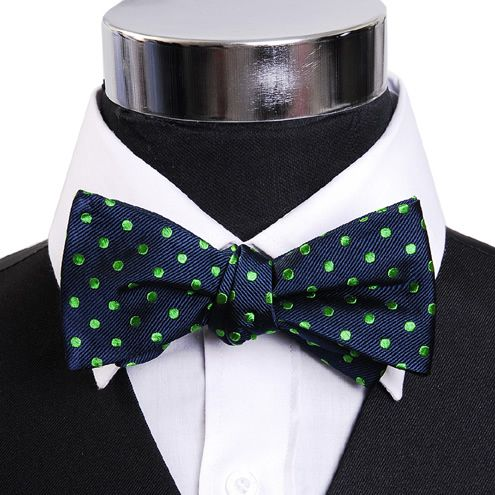 Navy and green polka dot bow tie (bow tie)