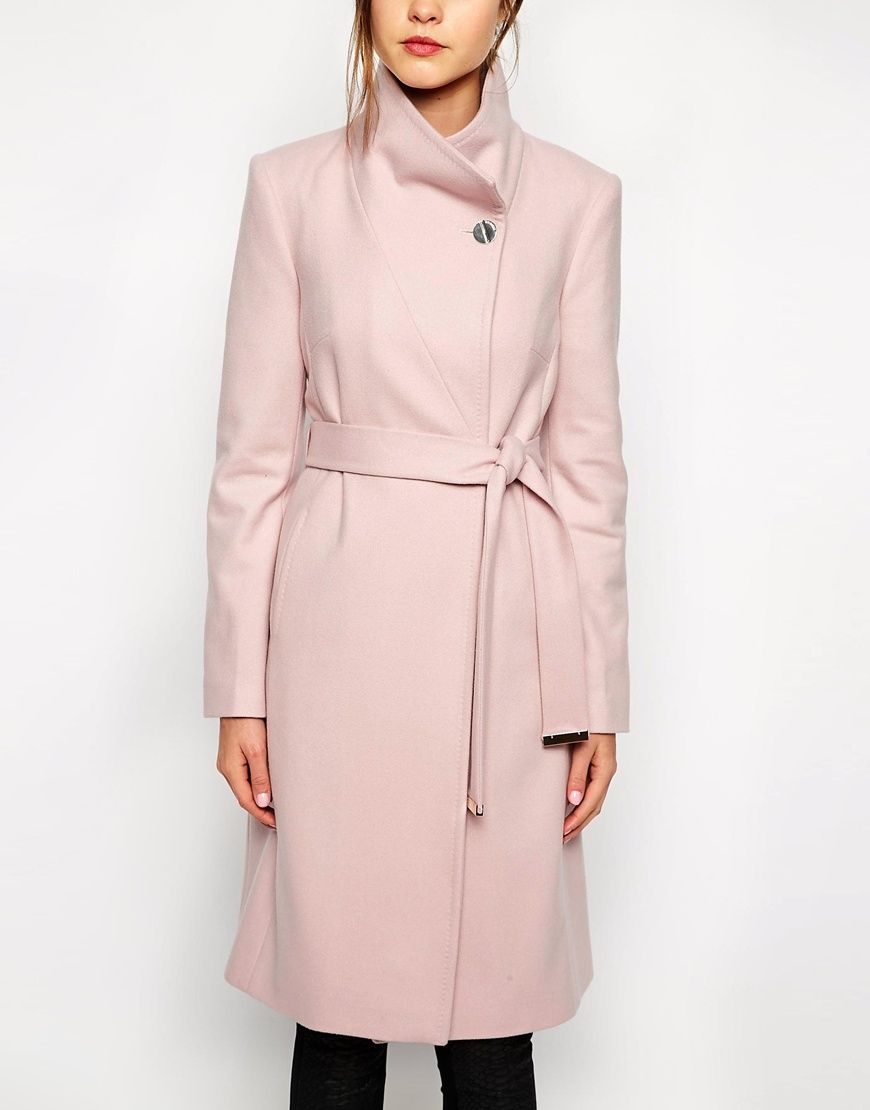 Ted Baker Belted Wrap Coat in Pale Pink
