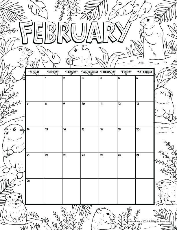 February 2021 Printable Calendar Page   Woo! Jr. Kids ...