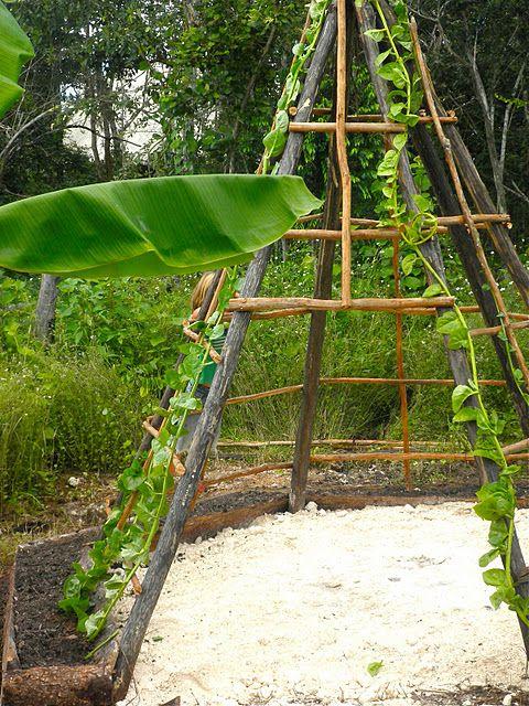 Garden teepee for children's play area.