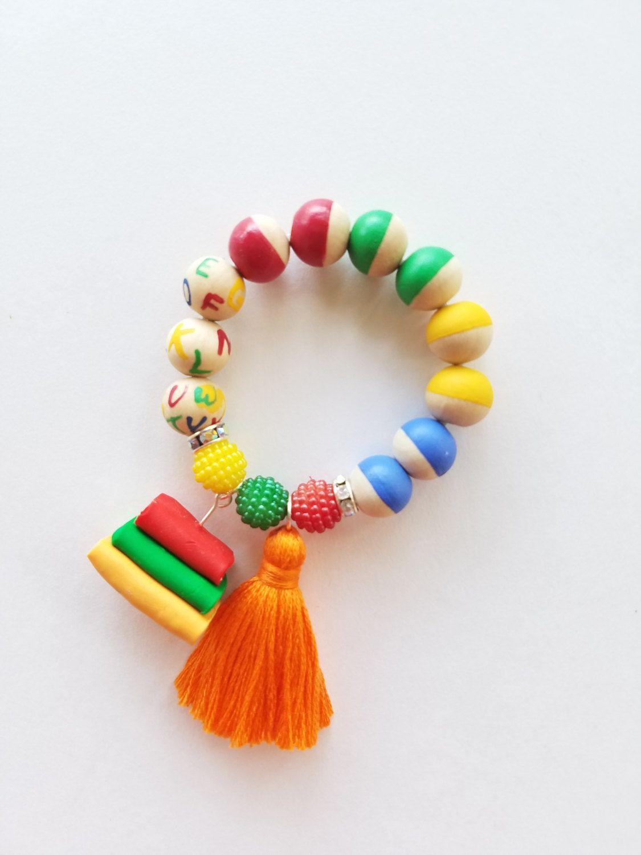 Back to school book charm beaded tassel bracelet/Book Charm Bracelet by TheRockinBead on Etsy