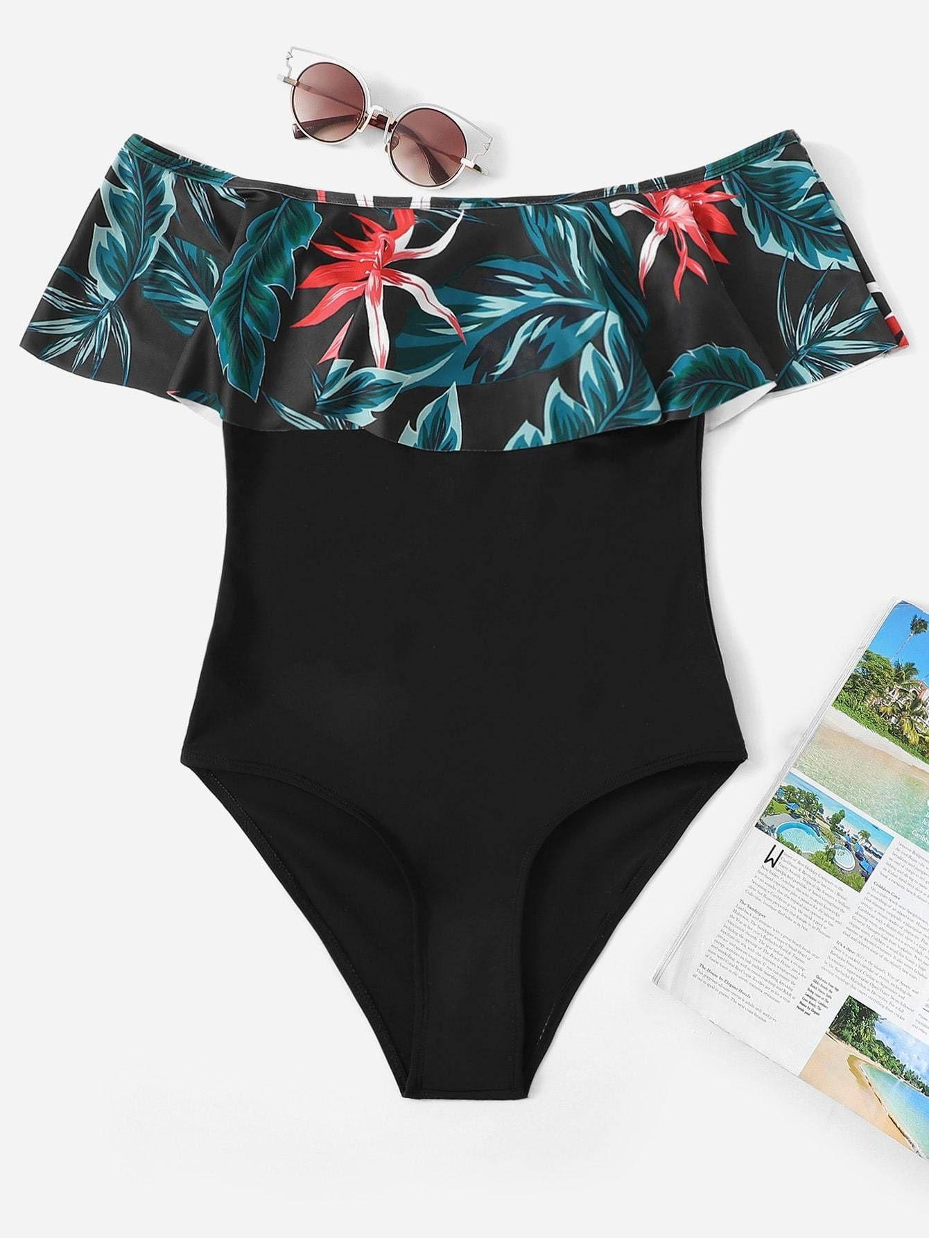 ce7866f181 random tropical flounce bardot one piece swimsuit. #swimwear #beachwear  #women #fashion