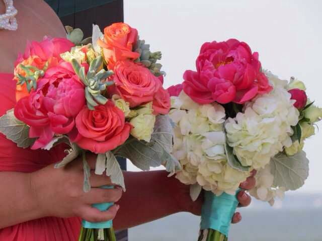 Coral and Teal Bouquets
