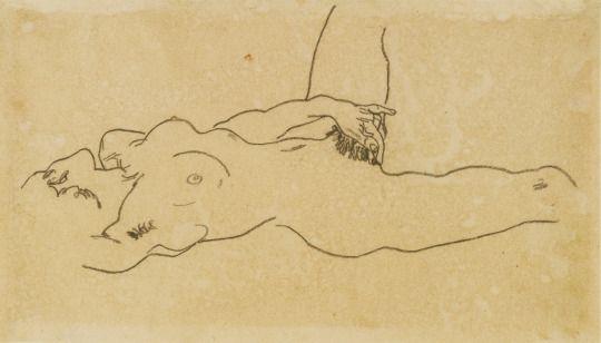 Liegender weiblicher Akt (1918) - Egon Schiele