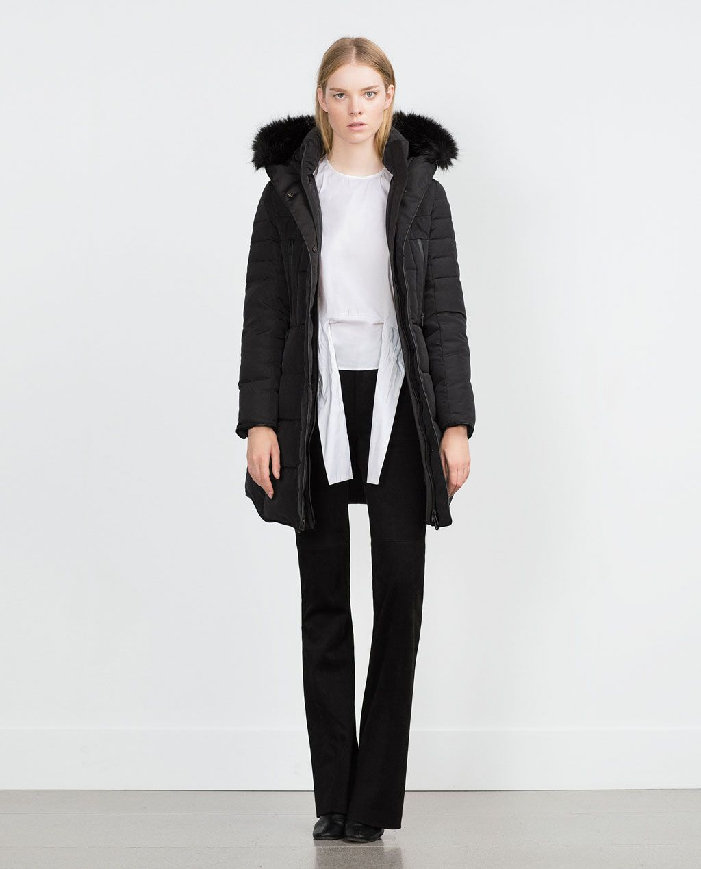 b985daa8 LONG QUILTED COAT WITH DETACHABLE FAUX FUR HOOD | ZARA | FEMININE ...