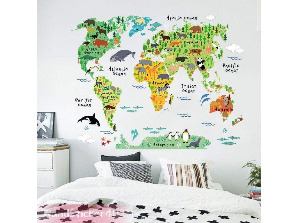 Dekoracni Nalepka Mapa Sveta 100 X 80 Cm Mapy Sveta Nastenna