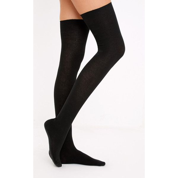 cheap prices cheap for discount fresh styles Basic Black Over the Knee Socks ($3.91) ❤ liked on Polyvore ...