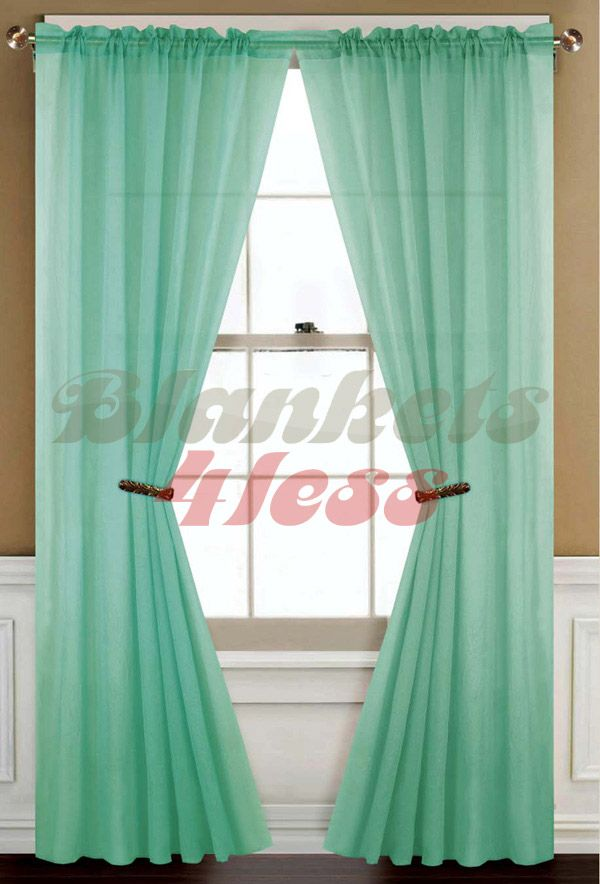 Sheer Curtains About Mint Green Solid 1 Window Curtain Panel Brand New