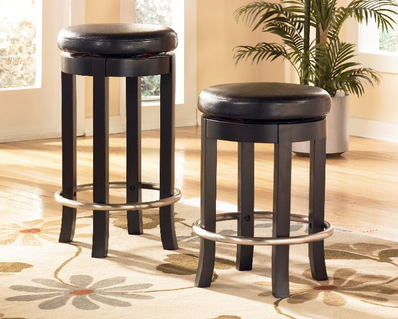 8999 Ashley Carlyle Almost Black 24 Inch Uph Swivel Bar Stool D371