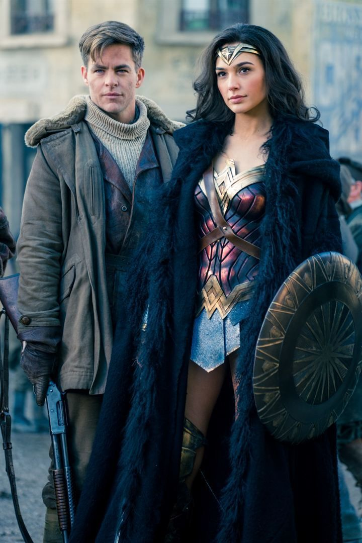 Gal Gadot as Diana Prince and Chris Pine as Steve Trevor, Wonder Woman