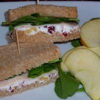 Turkey, Cranberry and Walnut Cream Cheese Tea Sandwiches