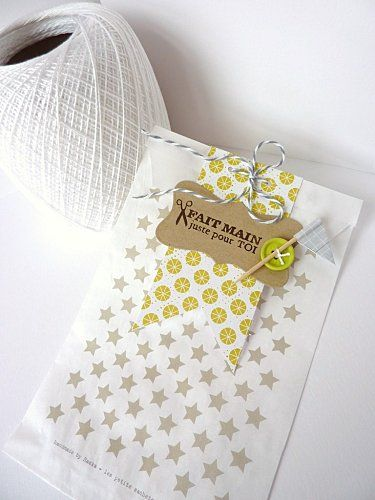 soft patterns mixes on a greeting card. Love the Baker's Twine touch!