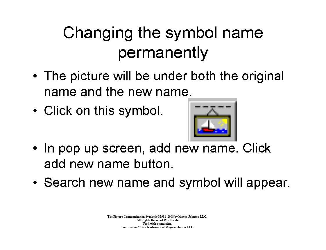 Changing The Symbol Name Permanently