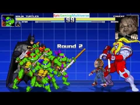 Teenage Mutant Ninja Turtles And Batman VS Chucky The Killer Doll Omega Red In A