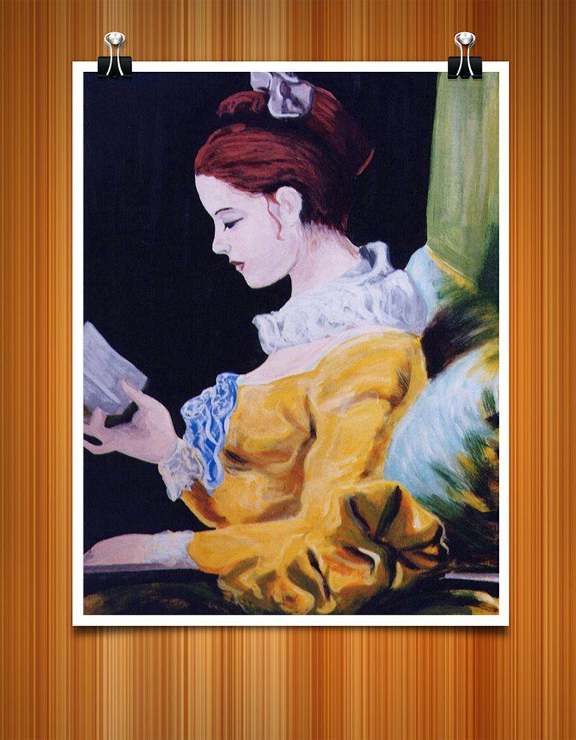 Peinture acrylique réalisée à partir d'un modèle de Fragonard « La Liseuse ».