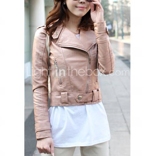 Turndown Collar Long Sleeve Party/ Office/ Casual PU Jacket With Pockets