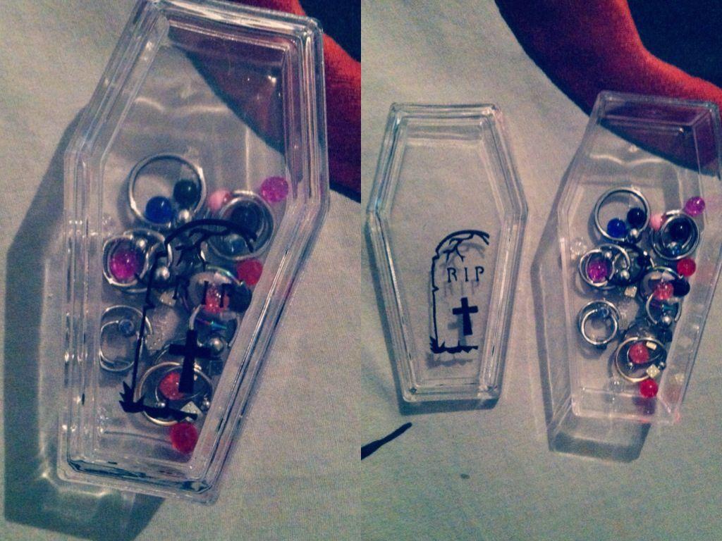 Diy pastel goth piercing jewelry case did this myself