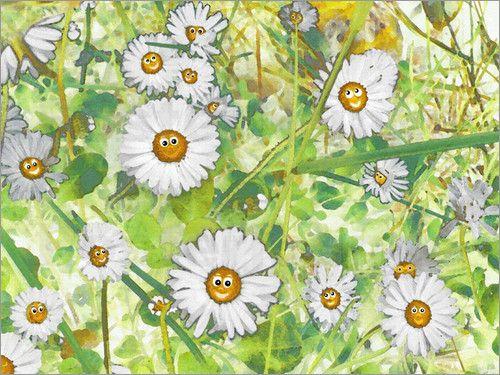 Gänseblümchen auf der grünen Wiese. Sie zaubern durch ihre #Froehlichkeit ein Lächeln auf dein Gesicht. #Daisies #Gaensebluemchen #Wiese #Lachen #Lebensfreude #Smile #joyofliving #canvas #wohndesign #Blumenwiese #Fruehling #jardin