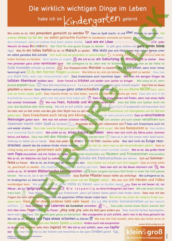 Poster: Die wirklich wichtigen Dinge im Leben habe ich im Kindergarten gelernt (DIN A1)