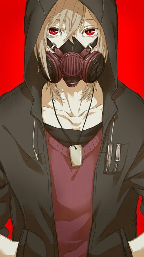 anime boy gas mask white hair black hoodie red shirt