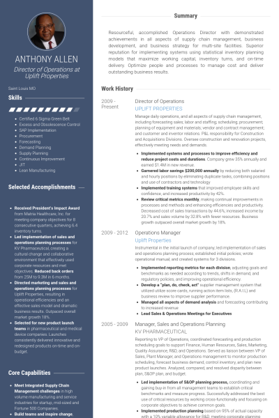 Director Operations Resume Samples Visualcv Template Pinterest Executive Work And