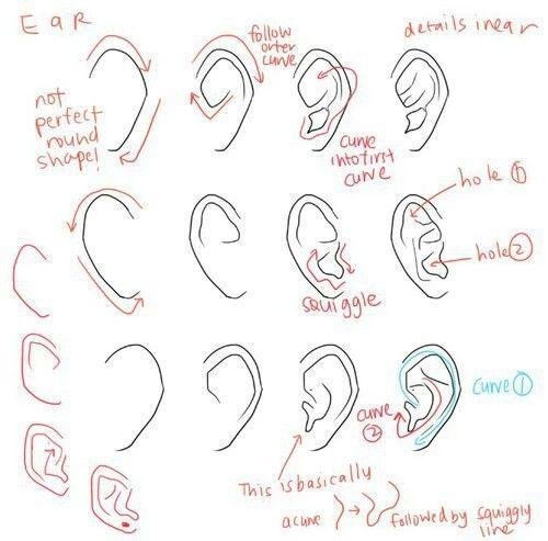 diy, draw, ear, how to, manga, tutorial