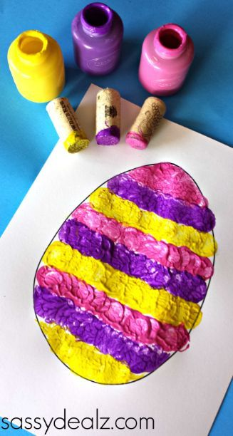 Wine Cork Easter Egg Stamping Craft for Kids - Crafty Morning