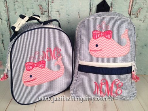 Monogram Whale Seersucker Backpack and Lunch Box Set | :Baby Girl ...