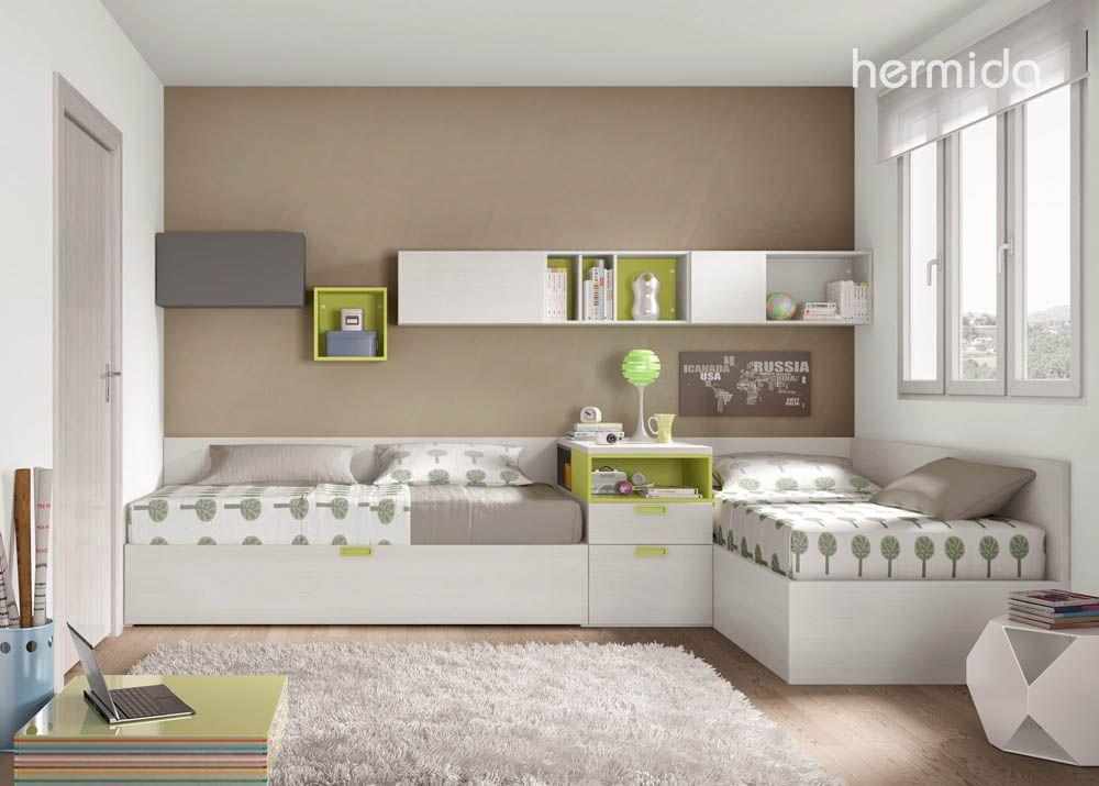 Habitacion para hermanos espacios pinterest cruzado for Habitaciones juveniles nina