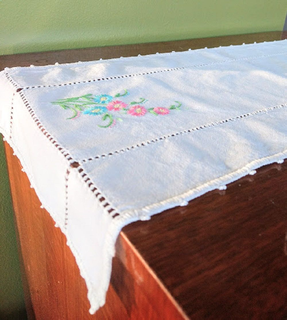 Hand Embroidered Small Table Runner Dresser Runner Cotton And
