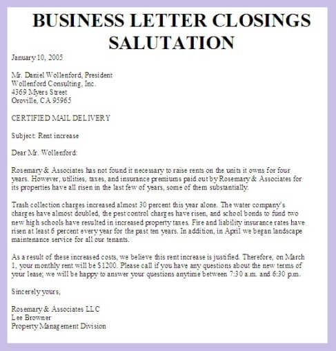 business letter closings salutation definitionbusiness examples - closing business letter sample