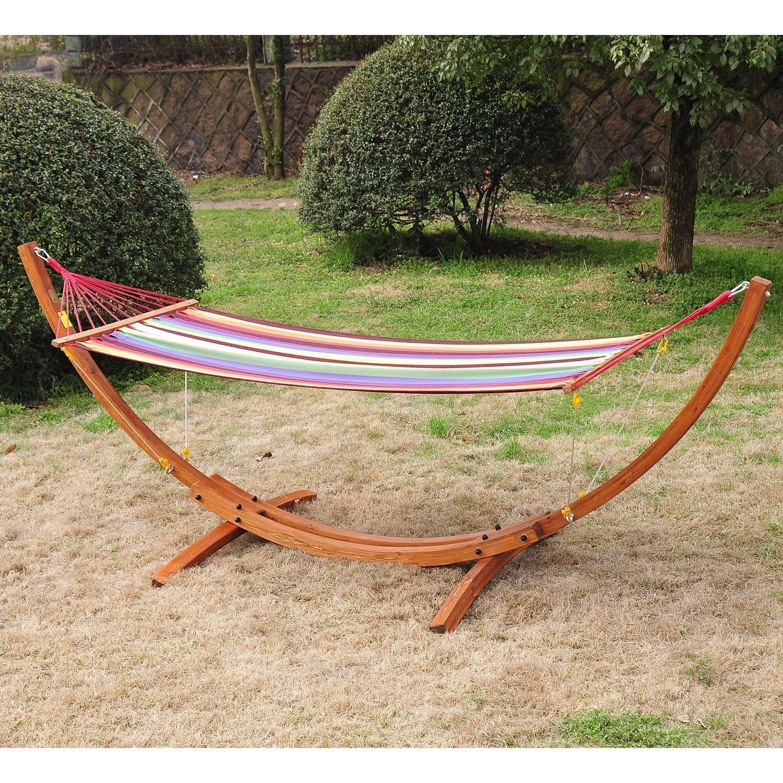 Patio wood arc stand hammock swing w stripe colorful cotton fabric