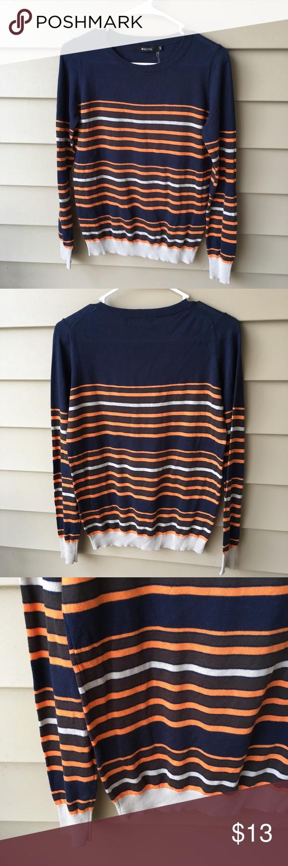 Stitch Fix 41 Hawthorn Striped Sweater Lightweight navy, orange ...