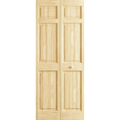 Frameport 24 In X 80 In 6 Panel Pine Unfinished Premium Interior Bi Fold Closet Door 3115321 At The Home Depot Bifold Doors Stylish Doors Bifold Closet Doors