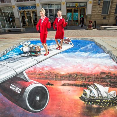 """""""Wingwalking"""" - 3D street art by Joe and Max, to mark the launch of Virgin Atlantic's new 'Little Red' domestic service."""