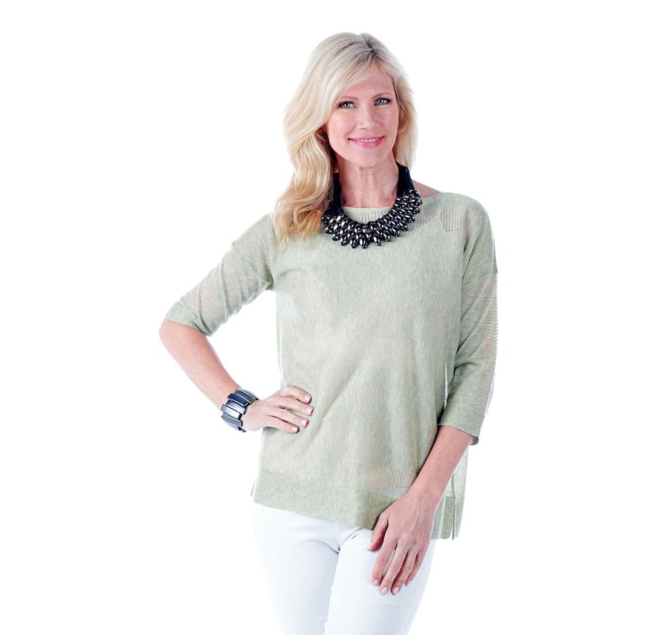 Relaxed Tie-Sleeve Boat-Neck Tee for Women   Womens trendy