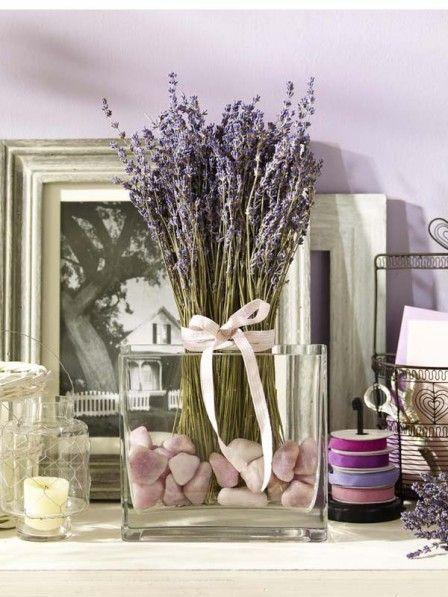Glashafen Mit Getrocknetem Lavendel Und Steinen Dekoration Deko