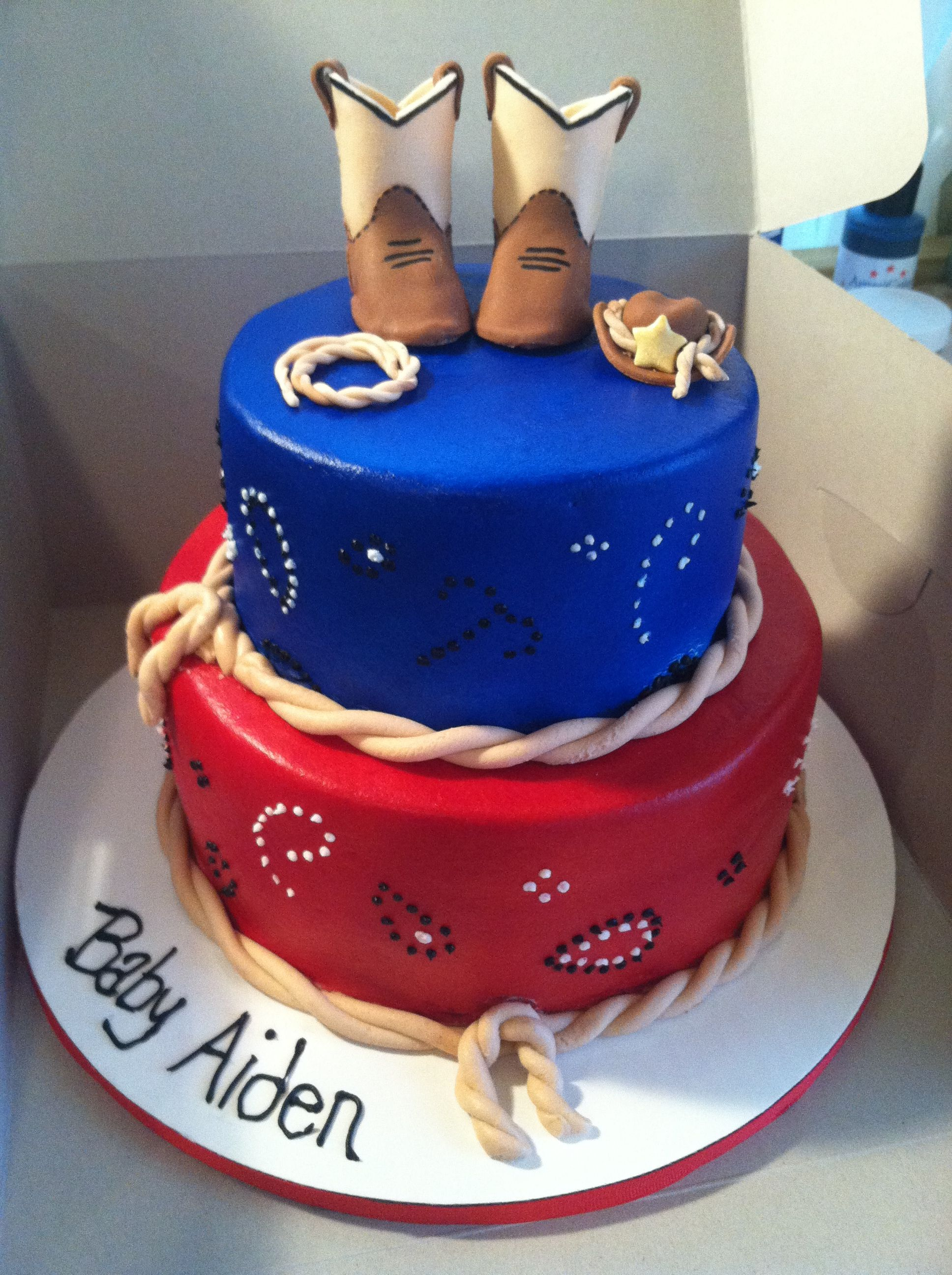 Cowboy Baby Shower Cake. Www.sweetcakesbytoni.com